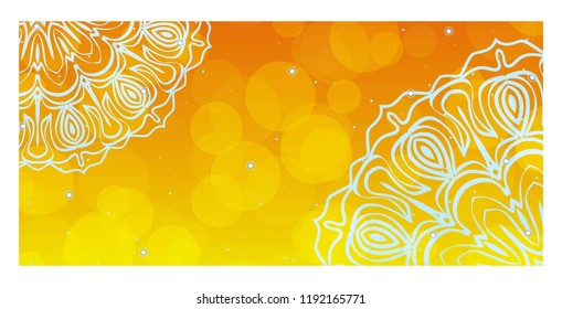 Colorful Henna Mandala Design, for FestiveFlyer Background. Vector illustration