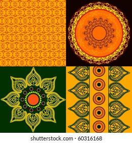Colorful Henna mandala design (square tiles) and Matching borders