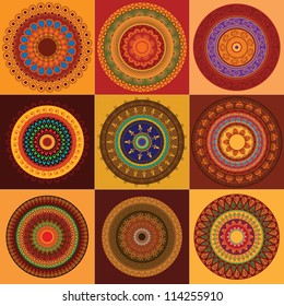 Colorful Henna Mandala design, very elaborate and easily editable