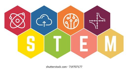 Colorful Hexagonal STEM Logo