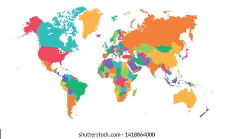 Colorful Hi detailed Vector world map