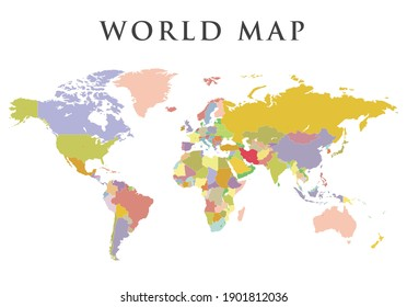 Colorful Hi detailed Vector world map White background