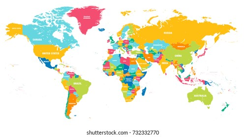 World map vector images stock photos vectors shutterstock colorful hi detailed vector world map complete with all countries names gumiabroncs Choice Image