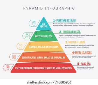 Colorful Hierarchy Pyramid Info graphic In 5 colors and 5 steps with description next to it