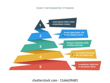 Colorful Hierarchy Pyramid Infographic Colorful and with Steps with description next to it Icons Business Modern and Fancy