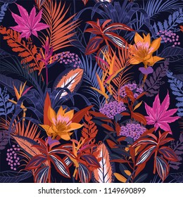 Colorful high contrast Summer night wild forest full of  blooming flower in many kind of floral seamless pattern vector ,hand drawing style for fashion, fabric and all prints on navy blue background.