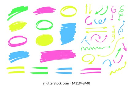 Colorful highlighter doodles isolated on white background. Round and rectangular frames for text, lines and arrows drawn with markers. Yellow, green, pink and blue markers. Artistic design elements