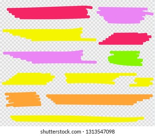Colorful highlighters set. Yellow, green, purple, red and orange markers. Transparent hand drawn brush lines.