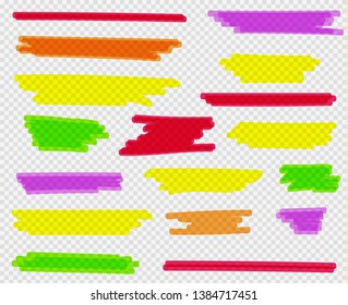 Colorful highlighters set. Yellow, green, purple, red and orange markers. Transparent hand drawn brush lines