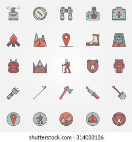 Colorful hiking icons - set of flat mountain climbing symbols or camping logo elements