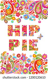 Colorful hippie flowers lettering print and floral border for summery t shirt design on white background. Patchwork style