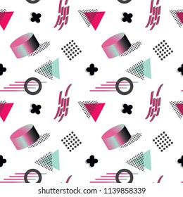 Colorful hipster seamless pattern. Modern 3d memphis and geometric flat style. Holographic 80-90s fashion fabric, wallpaper, wrapping paper, cover design.