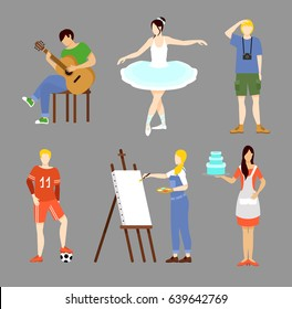 Colorful hobby collection with music dancing photography sport painting and cooking interests isolated vector illustration