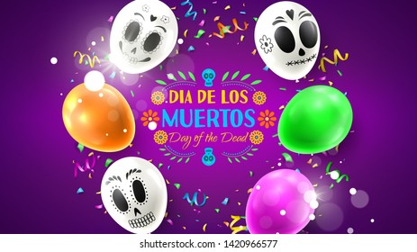 Colorful holiday banner for Day of the Dead. Colorful background with realistic white and colour air balloons. Vector illustration with color garlands and confetti.