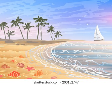 Colorful holiday on a beach with bright seashells, sand and palm trees
