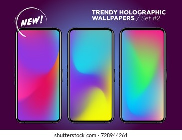 Colorful Holographic Background. Vibrant Neon Backdrop on Device Display. Set of Blurred Gradient Wallpapers. Vector Abstract Splash. Futuristic Cover Design. Trendy Vivid Waves.