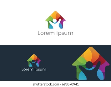 Colorful home with happy kid vector logo design. Charity, help and support organization vector design.