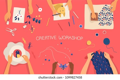 Colorful horizontal banner with hands making decorative craftwork - drawing, stamping, embroidering, knitting, weaving, scrapbooking work. Creative workshop for children. Flat vector illustration