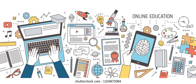 Colorful horizontal banner with hands typing on laptop and holding tablet computer and various office supplies. Distance online education, internet learning. Vector illustration in line art style