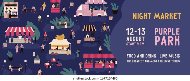 Colorful horizontal banner for night market with a place for text. Advertisment for nighttime fair. Crowd of people at urban festival or street marketplace. Vector illustration in flat cartoon style