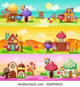 Colorful horizontal banners set with cartoon world landscapes and houses made of candies and sweets vector illustration