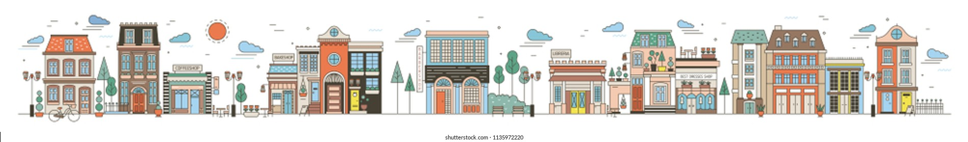 Colorful horizontal cityscape with street of European city full of elegant buildings, residential houses, stores and shops, public locations. Creative vector illustration in modern line art style
