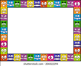 Colorful horizontal vector photo frame made of smiling faces.