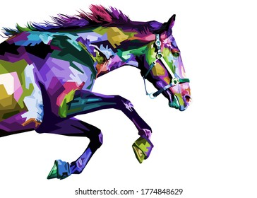 Colorful horse running isolated on white background.vector illustration.