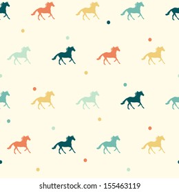 Colorful horse seamless pattern in vector/ pattern with symbol of year