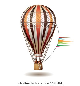Colorful hot air balloon with silhouettes isolated on white background, vector illustration