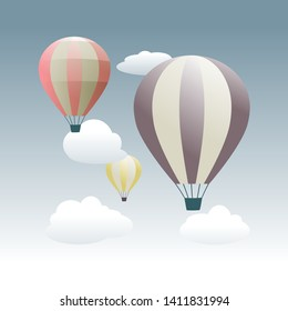 colorful hot air balloons flying in the sky. Flat cartoon design. Fantasy, creative, innovation, education symbol -  Hot air balloon in the sky with cloud background - flat design