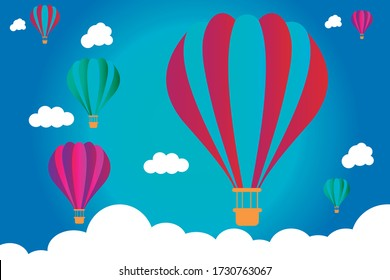 Colorful hot air balloons flying through the blue sky.