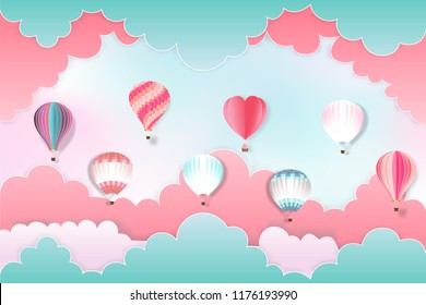 Colorful of hot air balloons on the pastel sky background as design paper art and craft style concept. vector illustration