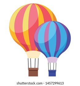 colorful hot air balloons symbol isolated vector illustration graphic design