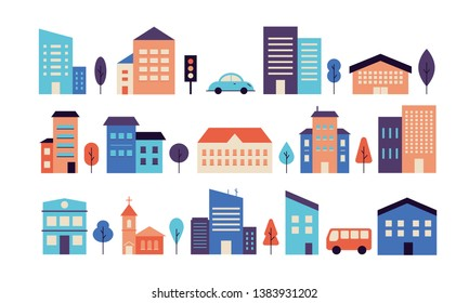 Colorful house exterior vector flat illustration. Modern houses front view, townhouse building apartment, home facade with doors and windows. Residential town building set.