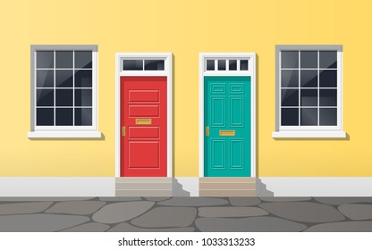 colorful house facade with two doors and windows