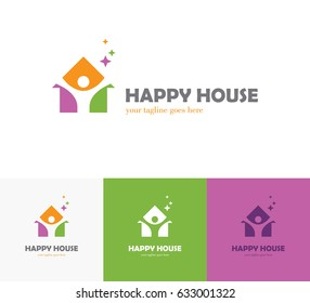 Colorful house icon with abstract happy human silhouette. Health center, home care, real estate, apartments or hotel logo, kindergarten or preschool design concept.