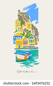 Colorful houses, fishing boats and turquoise sea. Traditional mediterranean landscape