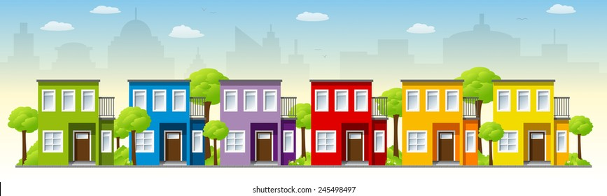 Colorful houses on the outskirts