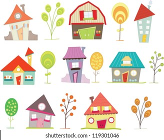 Colorful houses set