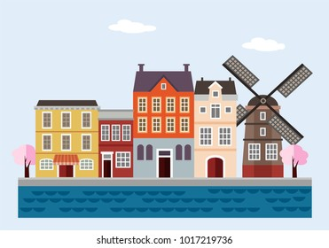 Colorful houses with windmill, blossoming trees and sea. Netherlands, Dutch  town. Flat design, vector illustration, web banner. Travel concept.