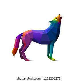 Colorful, howling low poly wolf, concept of wildness, logo element, eps10 vector