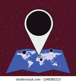 Colorful Huge Location Marker Pin Pointing to an Area or Address on Map. Creative Background Idea for Delivery, Shipping, Presentation, Navigation, Shopping and Travelogue Guide.
