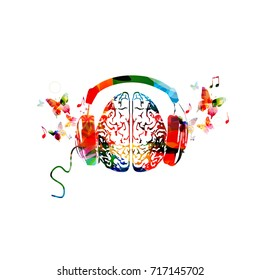 Colorful human brain with headphones isolated vector illustration. Music design. Listening to music