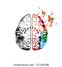 Colorful human brain isolated vector illustration