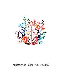 Farbiges menschliches Gehirn mit Blättern, Vektorgrafik-Hintergrund. Kreatives Denken, Brainstorming und intelligente Ideen, innovative Lösungen, Bildung und Lernen. Konzept der psychischen Gesundheit