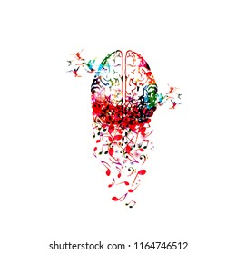 Colorful human brain with music notes isolated vector illustration design