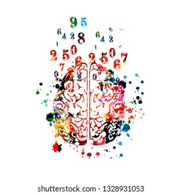 Colorful human brain with numbers isolated vector illustration design