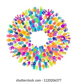 Colorful human hand print mandala. Community team concept illustration for culture diversity or teamwork project. EPS10 vector.