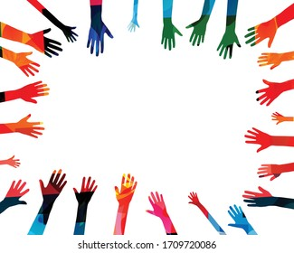 Colorful human hands raised isolated vector illustration. Charity and help, volunteerism, community support and social care concepts